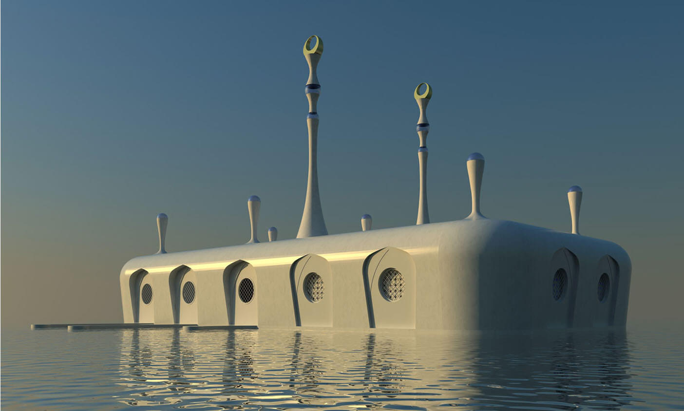 Floating Mosque On Sea In Front Of The Hague